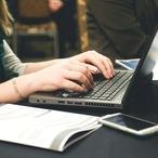 Square woman typing writing windows
